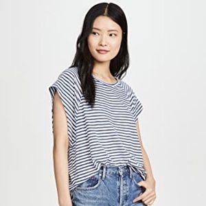 Free People Halo Tee in Blue & White Stripe NWT